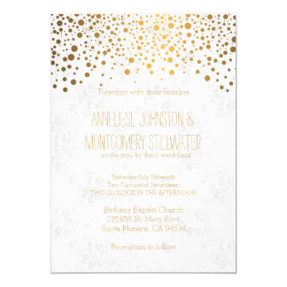 Stylish Gold Confetti Dots Wedding Theme Card