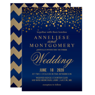 Stylish Gold Confetti Navy Blue Wedding Invitation