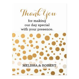 Stylish Gold Confetti Wedding Thank You Postcard