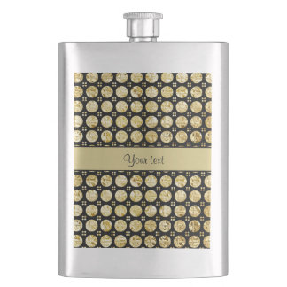 Stylish Gold Faux Buttons Hip Flask
