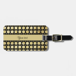 Stylish Gold Faux Buttons Luggage Tag
