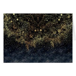 Stylish Gold floral mandala and confetti Card