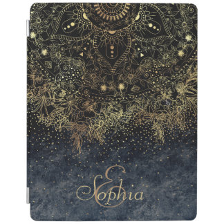 Stylish Gold floral mandala and confetti iPad Cover