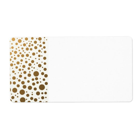 Stylish Gold Foil Confetti Dots Shipping Label