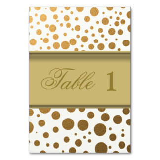 Stylish Gold Foil Confetti Dots Table Number Cards