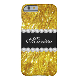 Stylish Gold Glitter Black Barely There iPhone 6 Case