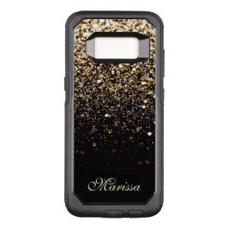 Stylish Gold Glitter Black OtterBox Galaxy 8 Case