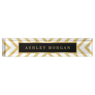 Stylish Gold Glitter Modern Premium Luxury Look Nameplate