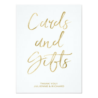 Stylish Gold Hand Lettered Cards and Gifts Sign