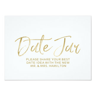 "Stylish Gold Hand Lettered Date Jar Wedding Sign 6.5"" X 8.75"" Invitation Card"