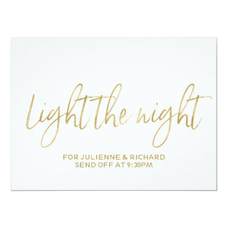 """Stylish Gold Hand Lettered """"Light the Night"""" Sign 6.5"""" X 8.75"""" Invitation Card"""