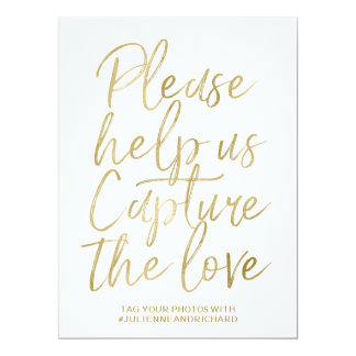 Stylish Gold Hand Lettered Wedding Hashtag Sign Card