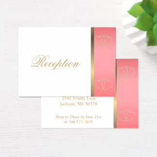 Stylish Gold Hearts on Coral and White Business Card