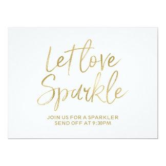 "Stylish Gold Lettered ""Let love sparkle"" Sign 6.5"" X 8.75"" Invitation Card"