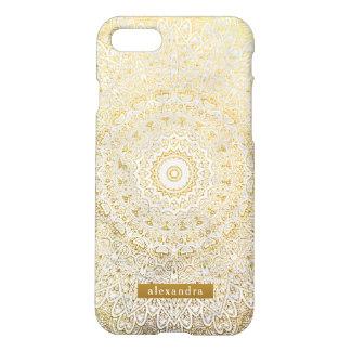 Stylish Gold Mandala Pattern on White Marble iPhone 8/7 Case