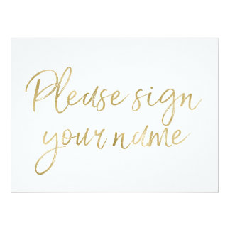 """Stylish Gold """"Please sign your name"""" Sign 6.5"""" X 8.75"""" Invitation Card"""