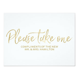 "Stylish Gold ""Please take one"" Wedding Favors Sign Card"