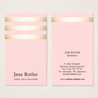 Stylish Gold Stripe  Blush Pink Business Card