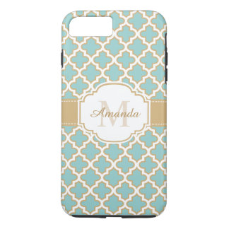 Stylish Gold Teal Blue Moroccan Pattern Monogram iPhone 7 Plus Case