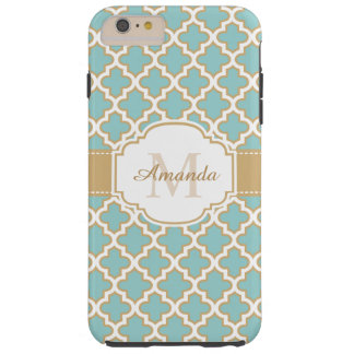 Stylish Gold Teal Blue Moroccan Pattern Monogram Tough iPhone 6 Plus Case