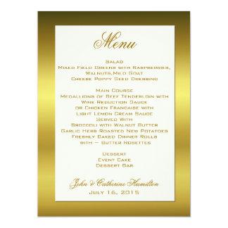 "Stylish Gold Tone Wedding Table Menu 6.5"" X 8.75"" Invitation Card"