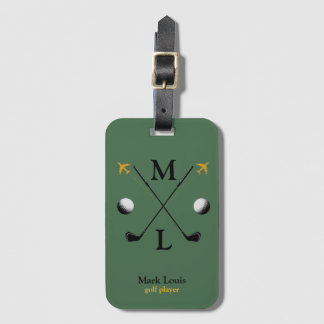 stylish golfplayer's monogrammed luggage tag