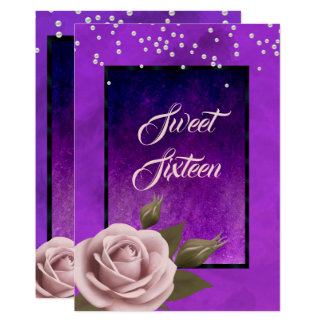 Stylish Gothic Purple With Rose & Beads Sweet 16 Card