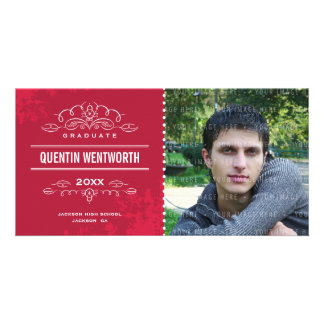 STYLISH GRAD PHOTOCARD modern graduate card red Custom Photo Card