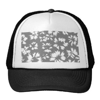 Stylish Gray and White Floral Pattern. Trucker Hat