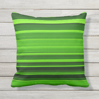 Stylish Green and Black Striped Pattern Outdoor Pillow