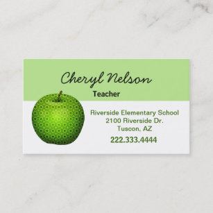Parent business cards business card printing zazzle ca stylish green apple teachers business card reheart Choice Image