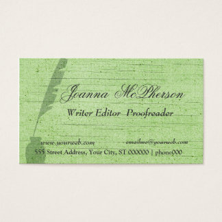 Stylish Green Feather   Writer Journalist Business Card