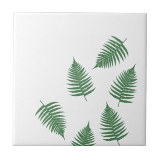 Stylish Green Fern Lucky Ceramic Tile