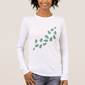 Stylish Green Fern Plants Wave Long Sleeves Shirt
