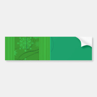 Stylish Green floral and stripes Bumper Sticker