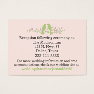 Stylish Green Love Birds Wedding Enclosure Card