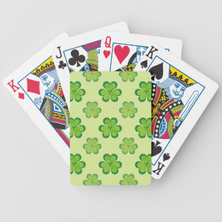 Stylish Green Lucky Shamrocks Clovers Pattern Bicycle Playing Cards