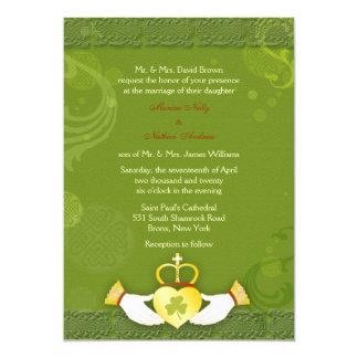 "Stylish Green n Gold Irish Wedding Invitations 5"" X 7"" Invitation Card"