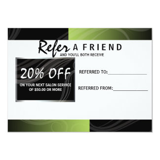 stylish green scissor hair salon referral card