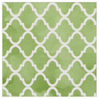 Stylish Green Watercolor Design Quatrefoil Pattern Fabric