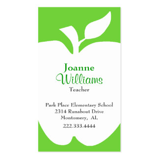 Stylish Green & White Apple Teacher Business Card