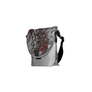 Stylish Grey Coral And Black Splash Abstract Courier Bags