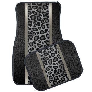 Stylish Grey Leopard Animal Print Pattern | Damask Auto Mat
