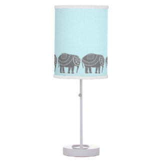 Stylish Grey Ornate Elephants with Turquoise Color Table Lamp