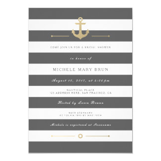 Stylish Grey Striped Nautical Bridal Shower Invite