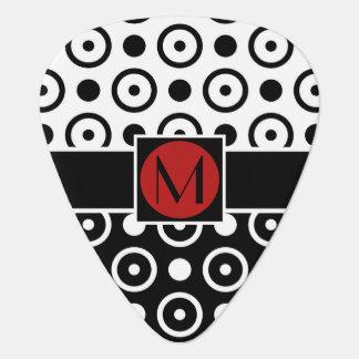 Stylish Half Black Half White polka dots monogram Pick