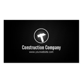 Stylish Hammer Icon Construction Business Card