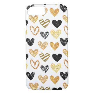 Stylish Hand Drawn Hearts iPhone Case