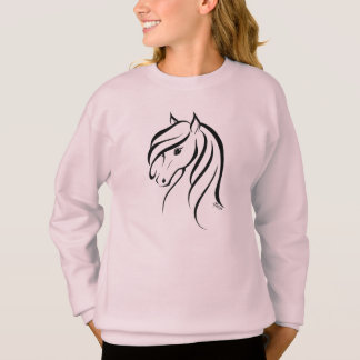 Stylish Hand Drawn Horse Girl's Comfy Sweater