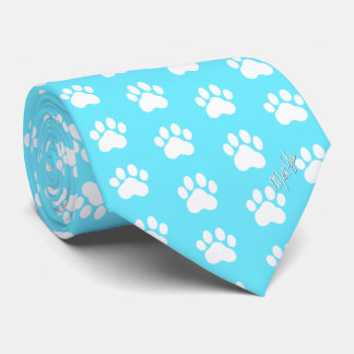 Stylish Hand Drawn Paws Silky Tie | Baby Blue